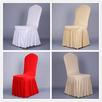 Wholesale Christmas Wedding Chair Sashes - wedding Elastic Home Polyester Spandex white Chair Covers Universal Folding Hotel Meeting Decoration decorations accessories 2016