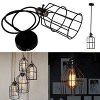 Wholesale Edison Retro Vintage Practical Home Decor Ceiling Pendant Light Metal Column Cage Chandelier Lampshade