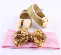 Wholesale Cheap Infant Walking Shoes - 2016 baby shoes girls sequin bows headbands + shoes outfits cheap kids shoes toddler shoes children shoes infant first walk shoe wholesale