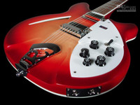 Wholesale Semi Hollow 12 Strings - Custom Ric Fire Glo Cherry Sunburst 360 12 Strings Electric Guitar Semi Hollow Body Triangle Mother Of Pearloid Fingerboard Inlay