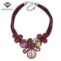Wholesale wire collars for sale - Group buy 4 Colors Handmade Crystal Maxi Necklace Women fashion Accessories Leather Chain Spiral Metal Wire Collar Choker Jewelry CE4147