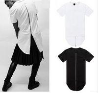 Wholesale Long Sleeve T Shirt Wool - Hot Thumb Hole Cuffs Long Sleeve Tyga Swag Style Mens Side Split Hip Hop Top Tee T Shirt Crew Wool T-shirt Men