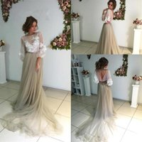 Wholesale Glamorous Line Party Dresses - 2017 Glamorous Tulle Scoop Neck Evening Dresses A Line Appliques Sheer Bodice Sexy V Back Formal Pageant Party Dresses BA3812