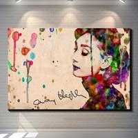 Wholesale Landscape Poster Paints - Vintage Abstract Watercolor Audrey Hepburn Painting Picture Canvas Poster Bar Pub Home Art Decor Custom Fashion Classic Print Canvas Paintin
