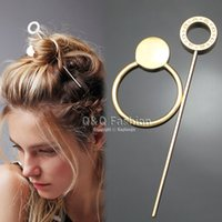 Wholesale Hair Dressing Heads - Free shipping Gypsy Hoop Disc Hair Slide Ponytail Bun Holder Pin Clip Head Dress Stick Boho
