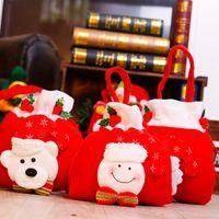 Wholesale merry christmas ribbon - Merry Christmas Gift Treat Candy Wine Bottle Bag Santa Claus Snowman Decor Portable Christmas Gift Bags
