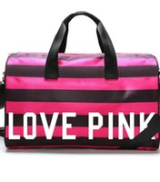 Wholesale VS Women Stripes travel Bag girls Victoria love pink Duffel bag polyester DHL