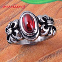 Wholesale Crystal Bead Adjustable Rings Jewelry - musiling Jewelry Stainless Steel Rings Mens Ring Adjustable Red Agate Bead Accessories Retro Silver Plated Bohemian Fashion Mens Jewelry