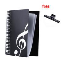 Wholesale a4 paper storage - Music Sheet File Paper Documents Storage Folder Holder Plastic A4 Size 40 Pockets -Black