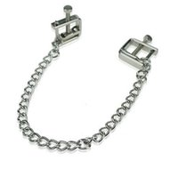 Wholesale breast sm - Stainless Steel Square Adjustable Nipple Clip Clamps Breast Flirt SM Bondage Metal Nipple Chain Chained Sex Toys Women Sex Toys