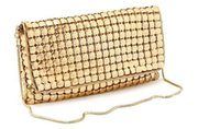 Wholesale Clutch Satchel - H1364 Elegant BLING Sequin Glittered Golden dress Clutch Evening Bag chain Sling Bag Free shipping wholesale 0.05
