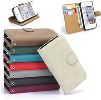 Wholesale Iphone4 Flip Covers - Pouch Leather Flip Hard Magnetic Style Cover Case For iPhone 4G 4S Holster Fashion Stand Wallet Bag for iphone4 4s Free Shipping
