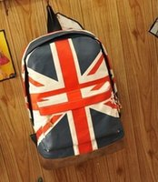 Wholesale Teenagers School Bags Uk - Unisex Canvas Backpack teenager School bag Book Campus The American UK flag Backpack bags Free Shipping