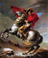 arte caballos pintura al óleo al por mayor-Napoleón cruzando los Alpes en caballo gris, envío gratis, lienzo de pintura al óleo de arte pintado a mano para decoración de pared en cualquier tamaño personalizado
