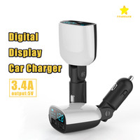 Wholesale Display Port Lead - LED Car Charger 5V 3.4A Dual USB Ports LED Screen Voltage Monitoring Display for iPhone 7 Plus Samsung with Package