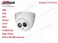 Wholesale Ip Cameras Wired - Dahua H.265 IPC-HDW4431C-A Built-in MIC HD 4MP IR 30m Network IP Camera with PoE