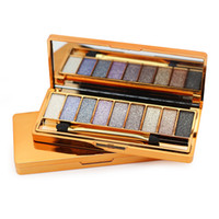 Wholesale Light Yellow Diamond Wholesale - Professional 9 Colors Diamond Bright Colorful Makeup Eye Shadow Super Make Up Set Flash Glitter Eye shadow Palette With Brush WB0250