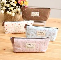 Wholesale Life Style Pencil Case - Wholesale-Life style Floral canvas Pencil Cases Flower Garden shivering Pencil Bags School Stationery Cosmetic Bag Pouch For Girls Women