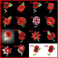 Wholesale American Legion - 28 Types Crystal Heart Flower Poppy National Flag Union Jack Brooches Pins The British Legion Brooch Corsages for UK Remembrance Day 170268