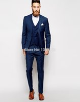 Wholesale Bespoke Suits Men - Custom Made Navy Blue Men Suit, Tailor Made Suit, Bespoke Men Wedding Suit, Slim Fit Groom Tuxedos For Men(Jacket+Pants+Vest)