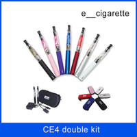 Wholesale Double E Cigarette Kit - Ego t double starter electronic cigarette Ego CE4 starter Kit ecig e cig battery electronic Cigarette ce4 ego t vaporizer in stock