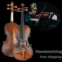 yüksek keman toptan satış-V304 Yüksek kaliteli Ladin keman 4/4 el sanatları Müzik Aletleri keman yay keman dizeleri