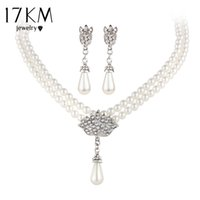 Wholesale Brides Necklace Charms - 17KM Charming Bride Simulated Pearl Jewelry Set Bling Crystal Water Drop Pendant Necklaces Earring Fashion Jewelry Accessory