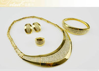 Wholesale Golden Thread Jewelry - Statement necklaces Jewelry sets Thread range of high quality plated necklace earrings family of four jewelry sets
