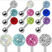 Wholesale Diamonds Tongue Rings - New human body piercing jewelry tongue nail nose nail stainless steel diamond tongue nail men and women general 9 colors