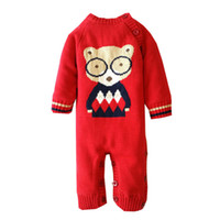 Wholesale Romper Thicken - Christmas Infants rompers baby girls boys Cartoon bears velvet thickening jumpsuit Newborn Oblique single breasted romper Baby Clothes C1510