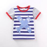 Wholesale Children Clothing Stripe - 2016 Summer New Boy Cartoon T-shirts Plane Stripe Cotton Fashion Short Sleeve T-shirts Children Clothing 1-6T 6504
