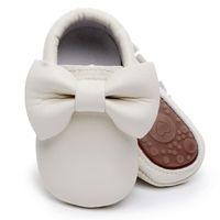 säuglinge gehen schuhe großhandel-Säuglingsschuhe des reizenden Bogens harte alleinkleinkind-Mokassins-erste wanderer PU-lederne Babyschuhe beschuht erste gehende Schuhe des Säuglings
