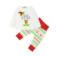 Wholesale Tow Pieces - 2017 New children's Christmas suit white long sleeved cotton letter T-shirt +deer trousers tow pcs suit baby cloth
