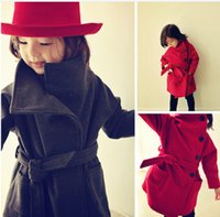 Wholesale 2016 years baby fashion coat beautiful bow belt girl woolen coat candy colors cheap kids warm clothing in stock A24