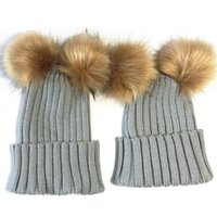 Wholesale Toddler Winter Hats For Girls - Winter Baby Hat Fur Pom Pom Knitted Toddler Kid Warm Double Fur Balls Beanies for Boys and Girls
