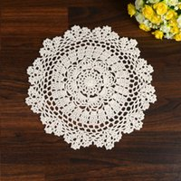 Atacado- LINKWELL 1PCS 100% Algodão Handmade Crochet Doily Doilies Cup Holder Mat Pad Table Coaster Tabletop Placemat 27cm Snowflake Bege