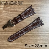 Wholesale high rise band for sale - OCYSA Luxury watch High quality genuine leather Strap with rose glod stainless steel pin buckle fit for AP watch