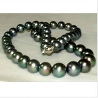 Wholesale Tahitian Pearl Perfect Round - Wholesale free shipping---2016 new stunning AAA+ 10-11mm perfect round tahitian black pearl necklace 18inch 925 silver