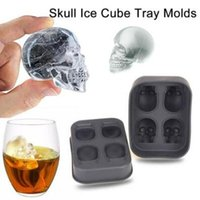 Wholesale Silicone Mold Halloween - Skull Shape 3D Ice Cube Mold Maker Bar Party Silicone Trays Halloween Mould Gift Chocolate Decorating Candy Pastry Mould CCA7339 80pcs