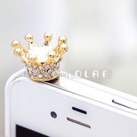 Wholesale Dustproof Plug Crown - Wholesale-Bee&rose New Fashionable Bling Crown 3.5mm Earphone Jack Dustproof Plug Ear Dust Cap for Iphone 4, 4s ,5, 5s ,Samsung i9100,