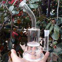 ingrosso tubo flessibile caldo-Vendita calda! bong in vetro olio Rig nuovo design Con percolatore a percento Perc due bong in vetro curvato a due vie con tubo d'acqua