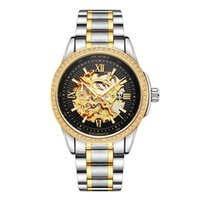 Wholesale Watches Brass Case - 2017 Luxury Luminous Hands Diamond Case Roles Gold Silver Skeleton Automatic Mechanic Men Watches Waterproof Stainless Steel Band