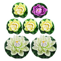 Wholesale Wholesale Plastic Ponds - 7pcs Lot Artificial Plastic Flowers Fake Bouquet Lotus for Wedding Garden Pond Decoration Manualidades Flores Plants Water Lily