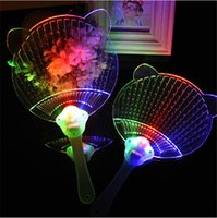 Wholesale Light Toy Fan - Wholesale projector the new night light crystal hot colorful light up fan Flash fan PROM the luminous led kids toys 30pcs lot