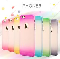 Matte Cases Two Gradient Color Back Cover TPU Gel Case Soft Protector Ultra Delgado Ombre Cell Phone casos para Iphone5 6 Iphone6plus