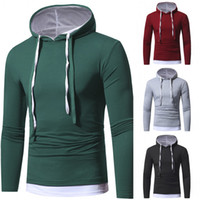 Wholesale Mens Slim Long Sleeve Shirts - Hooded T Shirt Men 2017 New Long Sleeve Casual Slim Fit Fake Two Pieces Fashion Clothing Mens Hoodies T-shirt LX3767