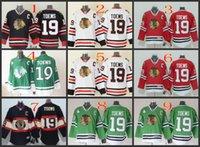 authentisches chicago hockey jersey großhandel-Chicago # 19 Toews Weiß Rot Grün Schwarz Hockey Trikots Eis Winter Home Away Jersey Genähte Logo Authentische Mix Order