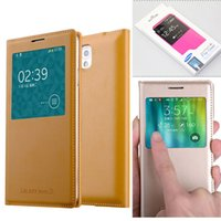 Wholesale S4 Folio Flip Case - Leather PU Flip Folio Window Smart Wakeup Sleep Case Cover For Samsung Galaxy S6 S5 S4 A8 A7 A5 A3 Note 5 4 3 With Retail Package 100pcs