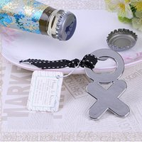 "Wholesale Wholesale Stainless Steel Letter Opener - Fashion ""Hugs & Kisses from Mr. & Mrs""Chrome XO Bottle Opener wedding favor XO Letters Wine Beer Cap Opener"