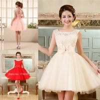 Wholesale Collared Girls Party Dress - Tulle Lace Short Prom Dresses Evening Dress Girl Lovely Club Prom Party Gown Bow Red Champagne Skin Pink Vestidos De Noche 2016